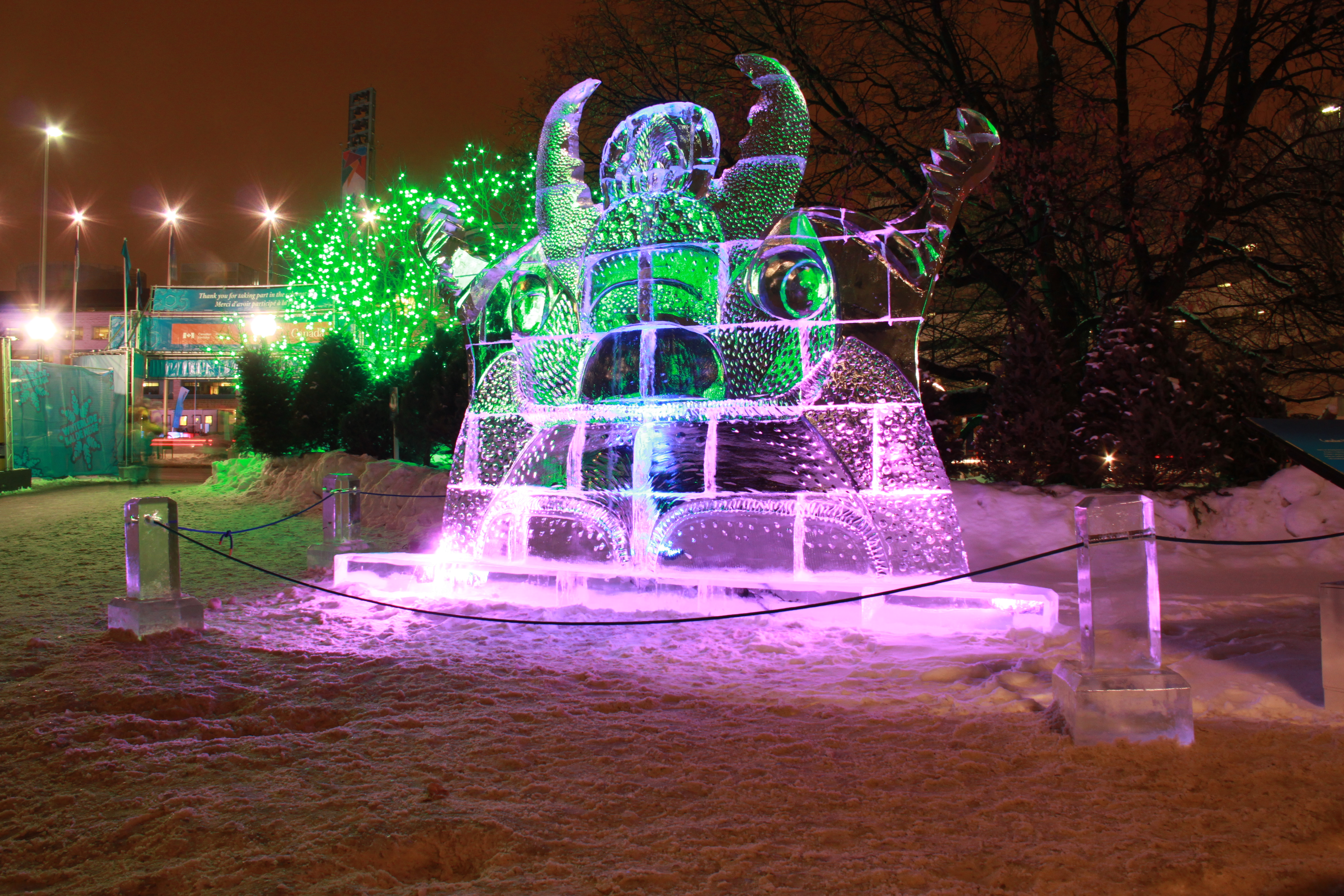 Winterlude Ice sculpture at Confederation Park in Ottawa, Ontario.