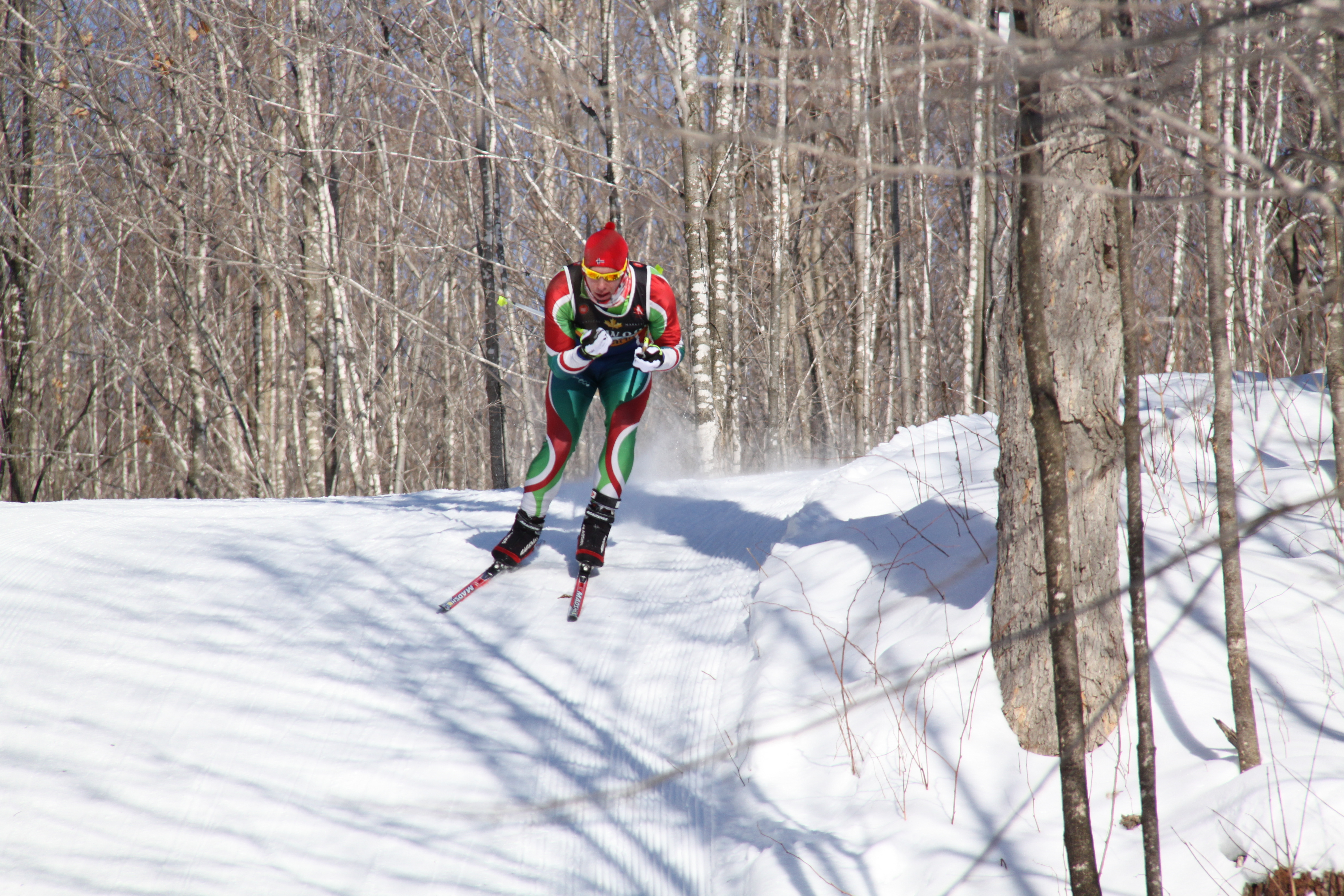 Cross Country skier at the Eastern Canadian Championships, Nakkertok Nordic Ski Club, Cantley, Quebec.