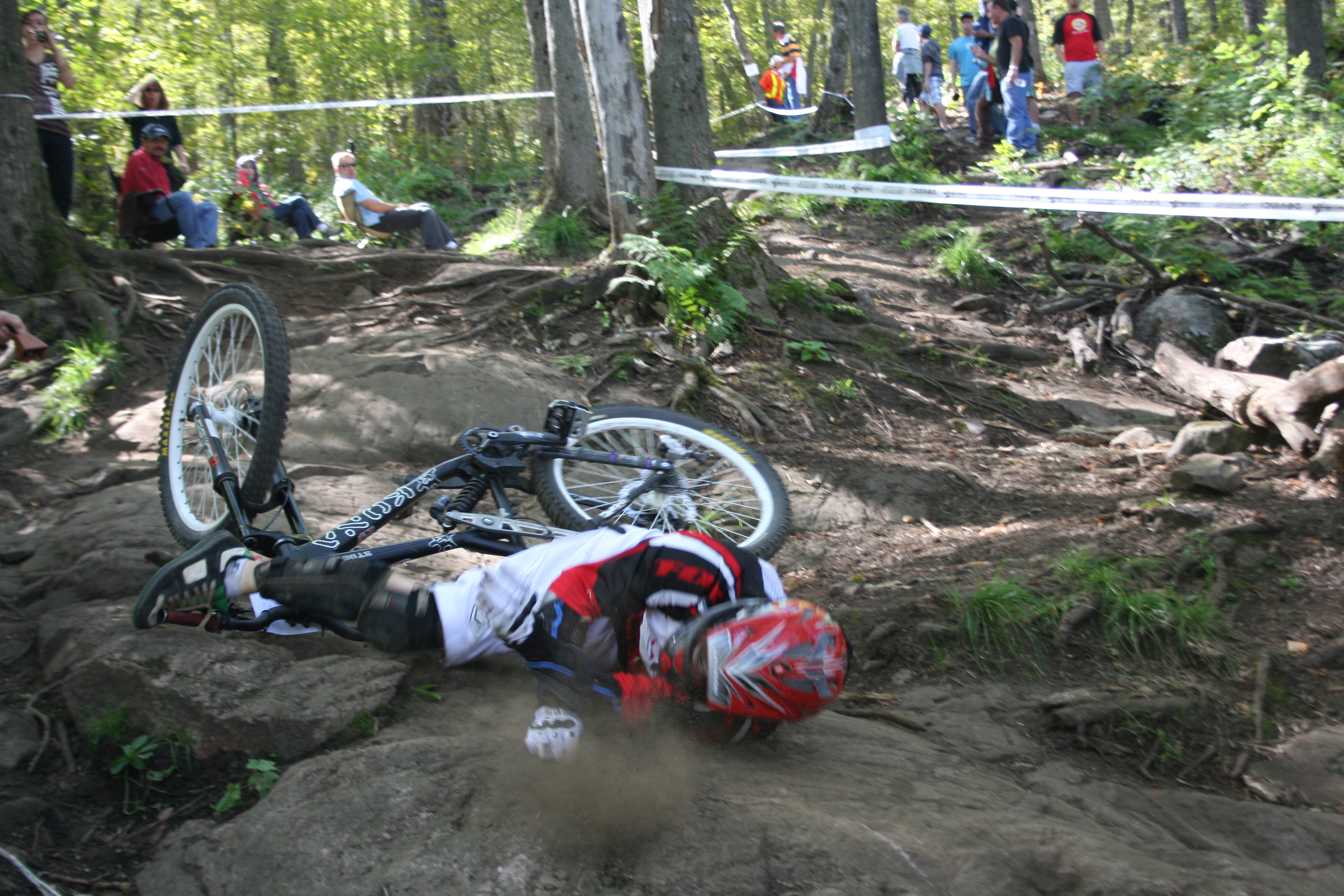 Downhill racer crashing on National at Camp Fortune, Chelsea, Quebec.